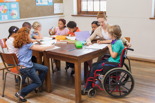A wheelchair improves this schoolchild's life giving them better mobility and access to more daily activities.