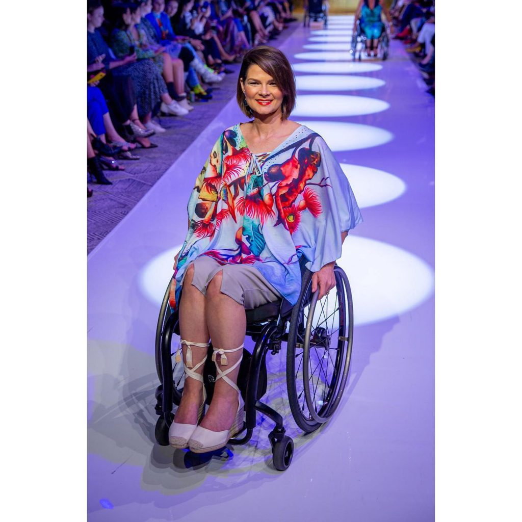 This caftan is part of Carol's adaptive clothing range for Mercedes Benz Fashion Festival Brisbane 2019.
