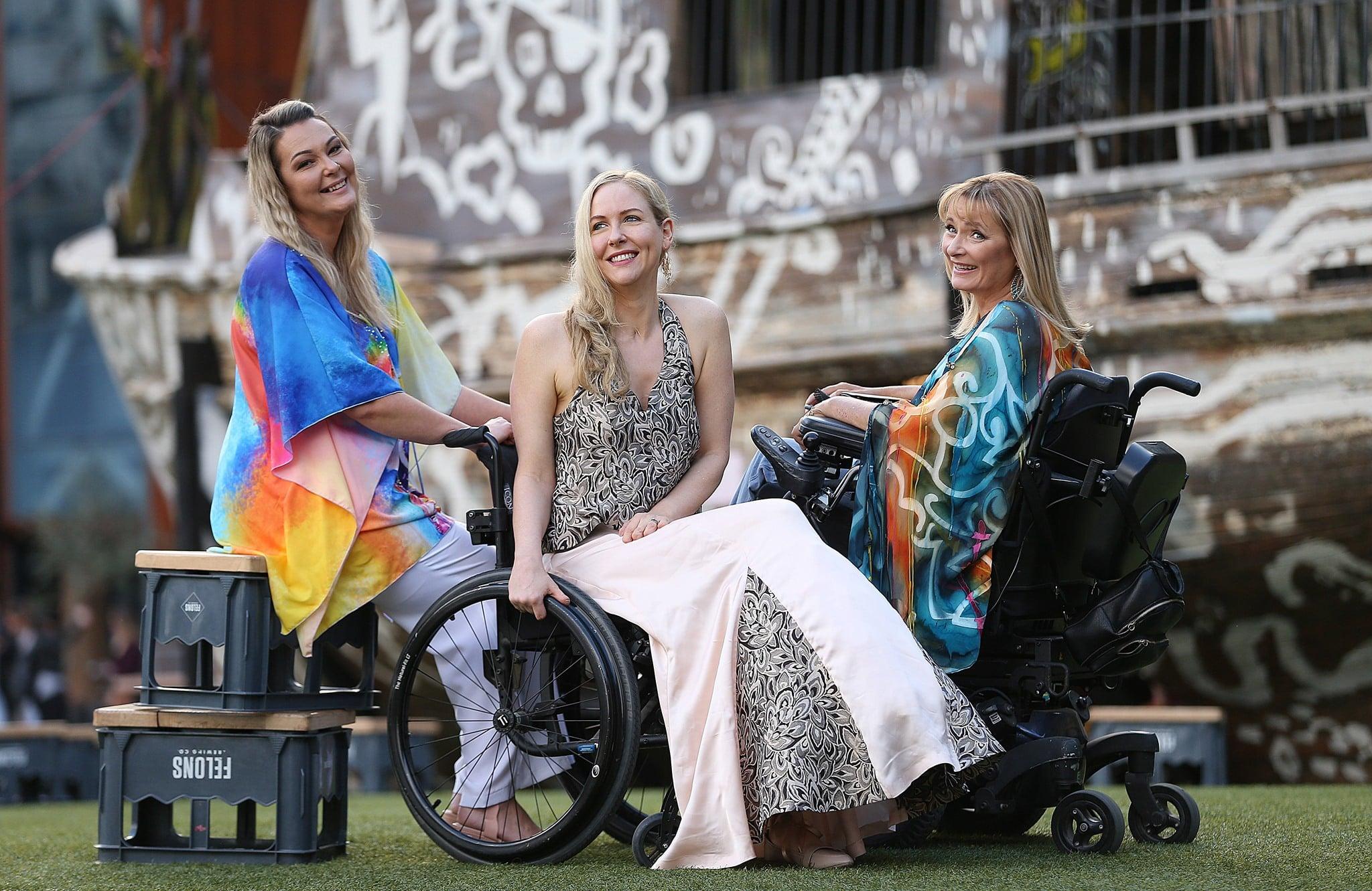 Carol showcases her quadriplegic clothing designs.