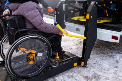 close up of one of the wheelchair lifts for cars