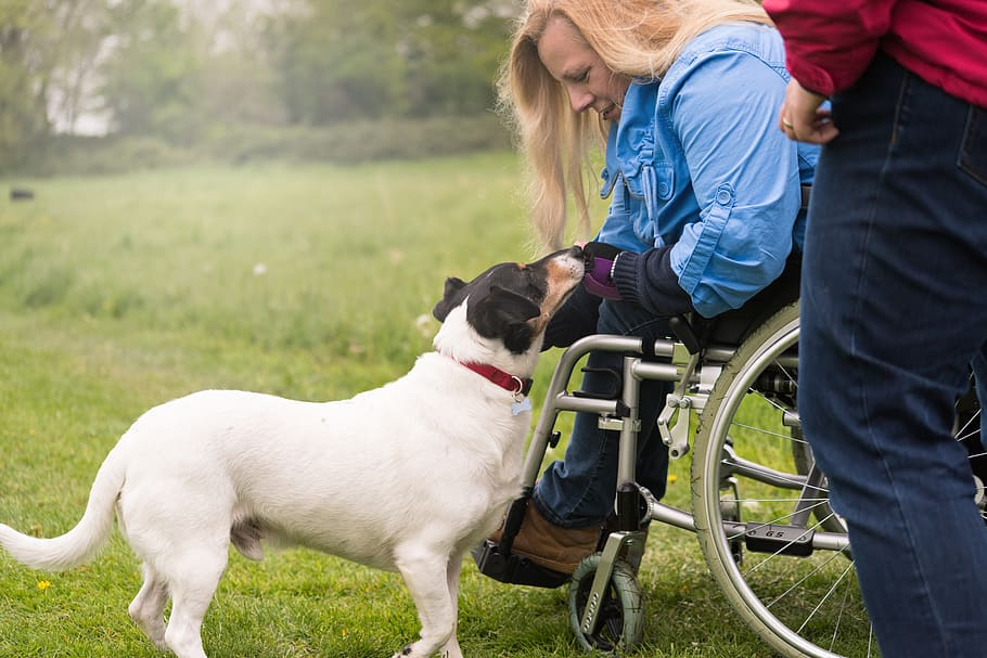 A woman experiences the physical benefits of owning a pet