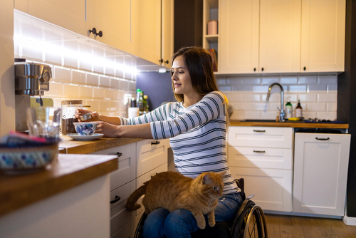 woman in wheelchair with low maintenance pet cat on lap