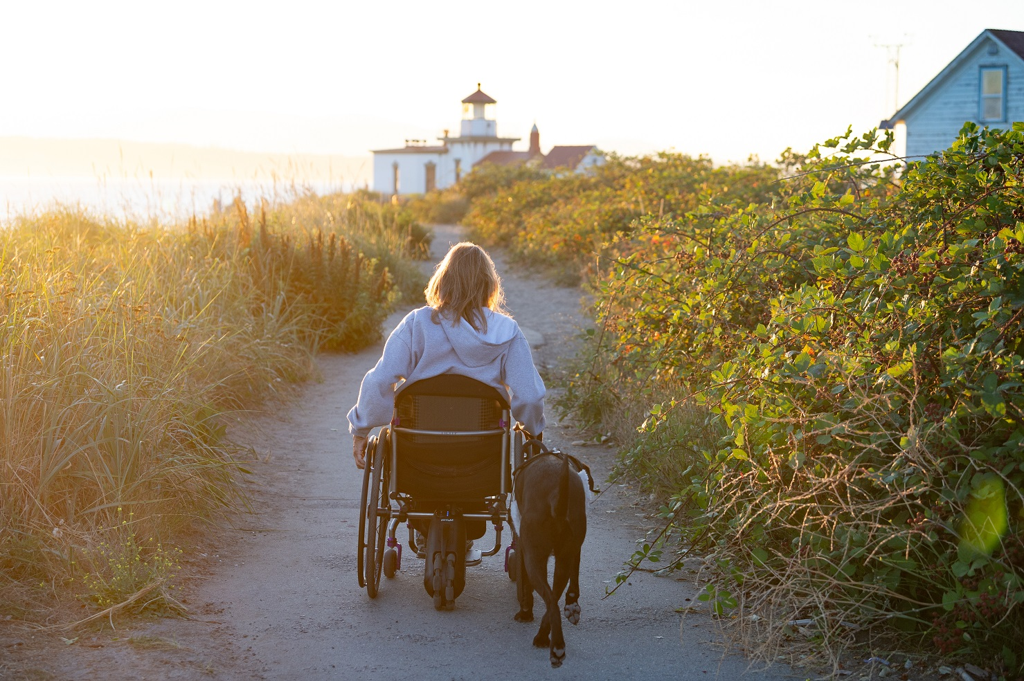 wheelchair using lady and dog enjoy pets and mental health benefits